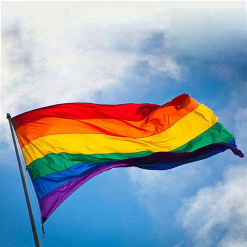 Rainbow Flag 3x5 FT 90x150cm Polyester Lesbian Gay Pride LGBT For Decoration