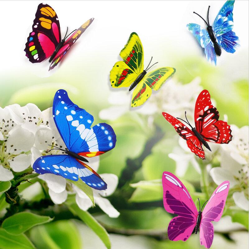 12 pz/set 3D PVC doppia farfalla Wall Sticker farfalla sul muro Home Decor nuovo arrivo Fridage adesivi decorazione