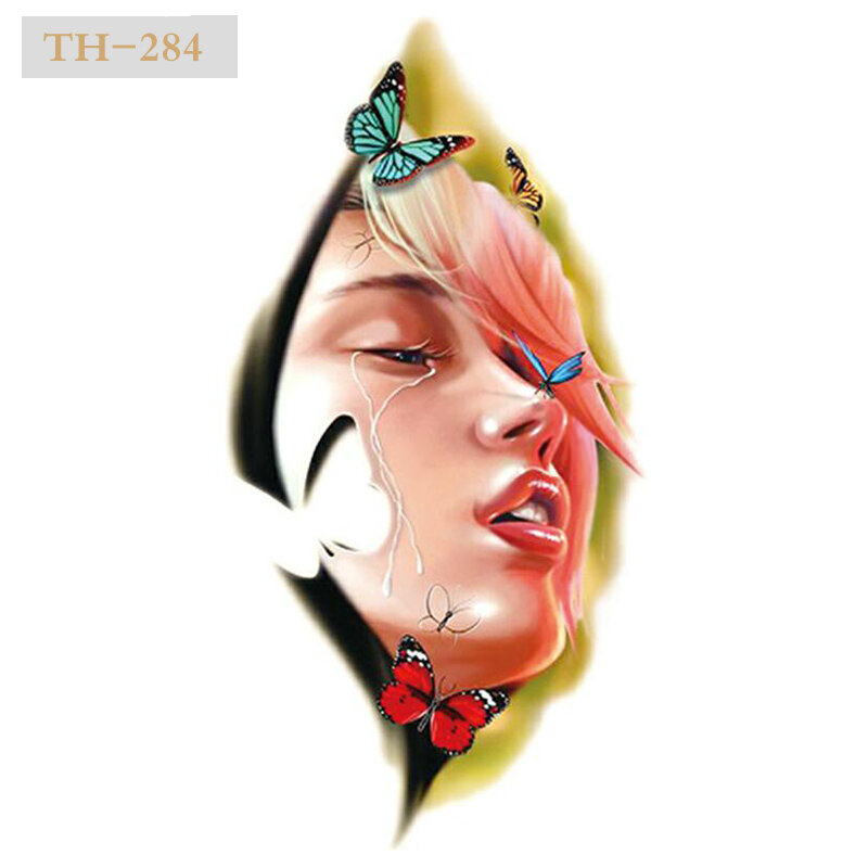 وصول جديد ملصقات وشم مؤقت ملونة للبنات ، 21 × 15 سنتيمتر ، فن الجسم ، مقاوم للماء ، #93