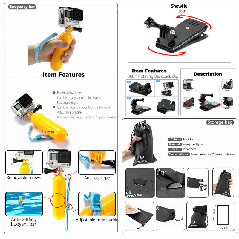 SnowHu für Gopro Zubehör für go pro hero 9 8 7 6 5 4 3 kit 3 weg selfie stick für Eken h8r für yi 4K action kamera GS02