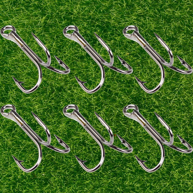 Lot 10pcsตะขอตกปลาSharpened TREBLE Hooks Fishhook Tackle 5 ขนาด 2/4/6/8/10