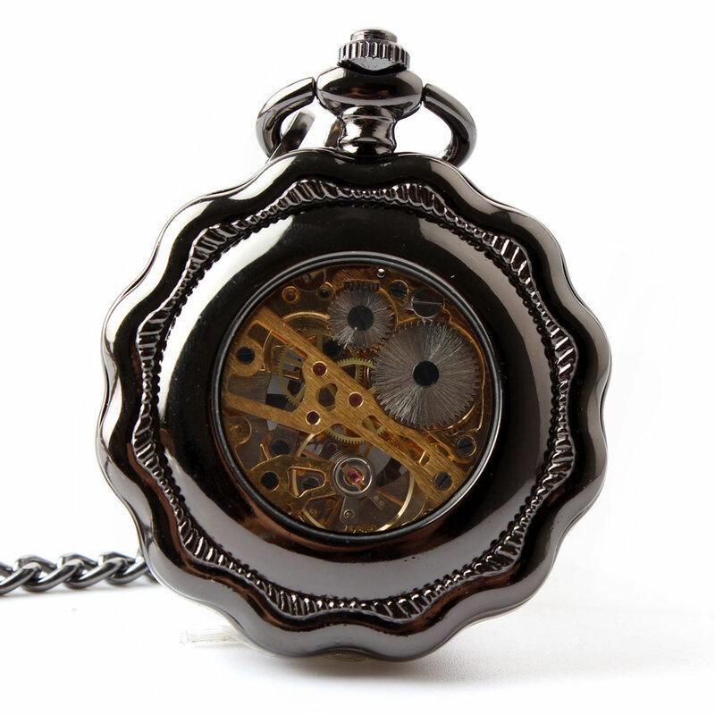 ساعة جيب ميكانيكية ، ستانلس ستيل ، أسود ، مضيئة ، Steampunk ، عتيقة ، هيكل عظمي تناظري ، لف يدوي ، ميكانيكية