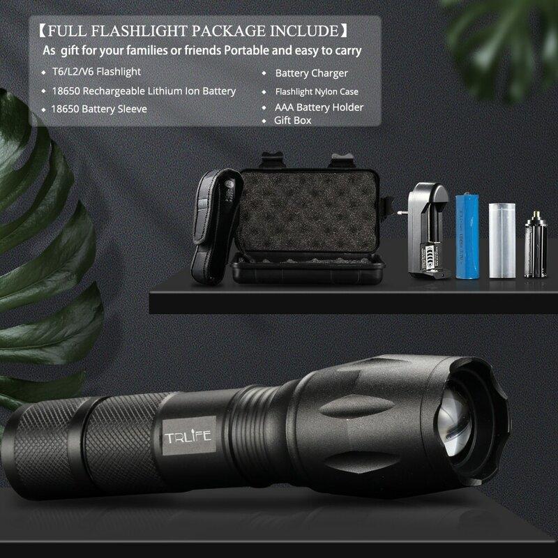 Linterna LED ultrabrillante T6/L2/V6, 5 modos de iluminación, Zoom potente, para bicicleta, Camping, con batería de 18650