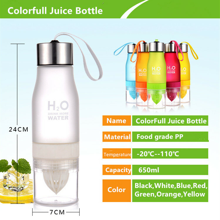 650ml H2Oน้ำมะนาวขวดผลไม้Infuserเครื่องดื่มกีฬาShakerน่ารักดื่มน้ำขวดBPAฟรีมะเขือเทศWaterbottle