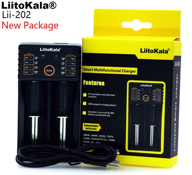 LiitoKala Lii-100 lii-202 Lii-402 1.2 V / 3 V / 3.7 V / 4.25V 18650/26650/18350/16340/18500/AA/AAA نيمه شاحن بطارية الليثيوم