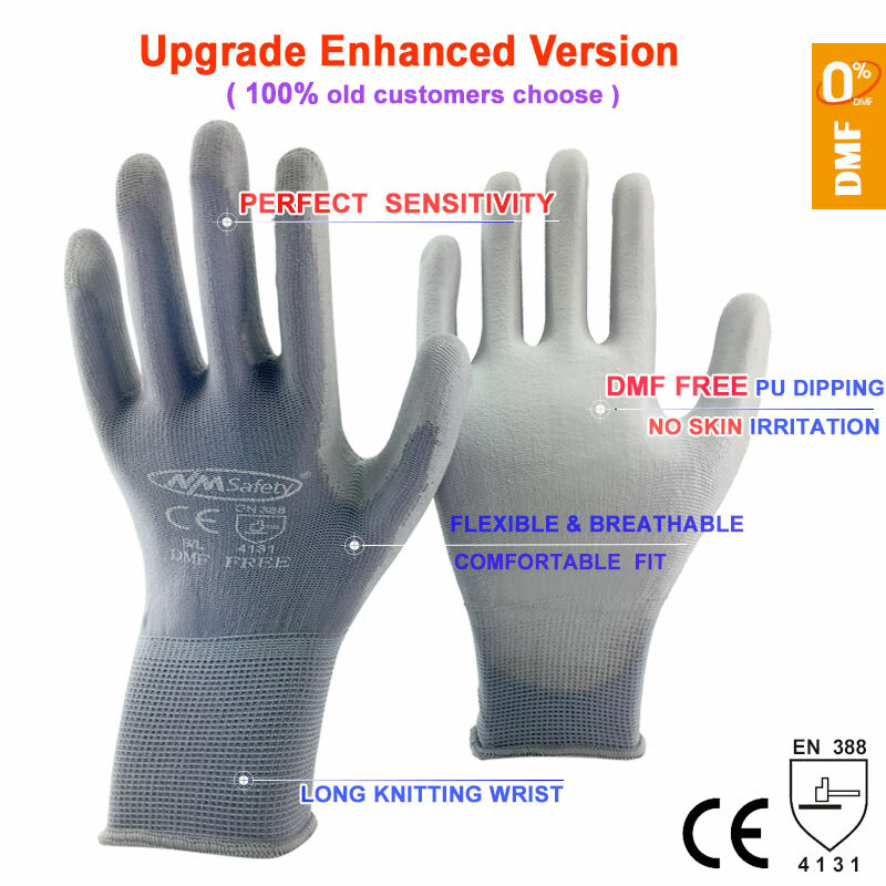 NMSafety-guantes de trabajo para revestimiento de Palma de PU, protectores de seguridad de nitrilo, suministros profesionales de seguridad, 24 piezas/12 pares