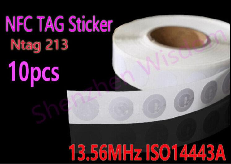 10 teile/los NTAG 213 NFC Tags Wiederbeschreibbare Ntag213 NFC-Tag Aufkleber 13,56 MHz ISO14443A 25mm Alle NFC Telefon Verfügbar Etiketten