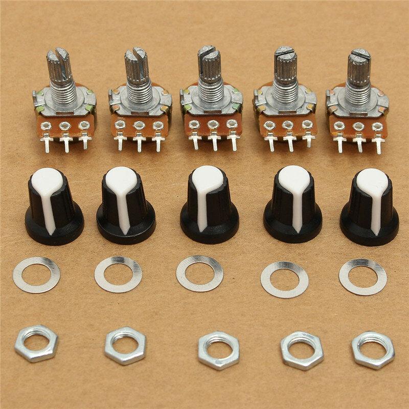 5 uds 10K OHM 3 terminales conicidad lineal de volumen rotativo tipo B potenciómetro Pot nueva llegada de la alta calidad