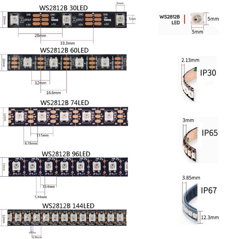 1m 2m 3m 4m 5m WS2812B WS2812 Ha Condotto La Striscia, indirizzabili individualmente Intelligente RGB Ha Condotto La Striscia, Nero/Bianco PCB Impermeabile IP30/65/67 DC5V