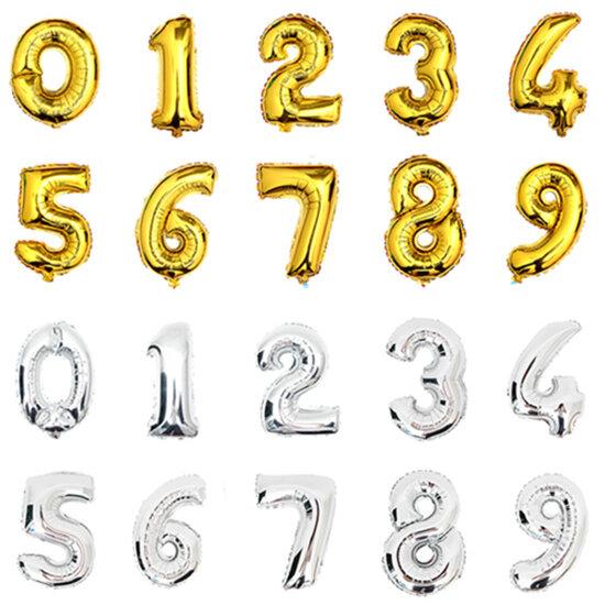 Numero ballons Elio 32 pollici Oro Argento stagnola Aerostato grande buon Compleanno palloncini matrimonio decorazione gigante Del Partito palloncino figure