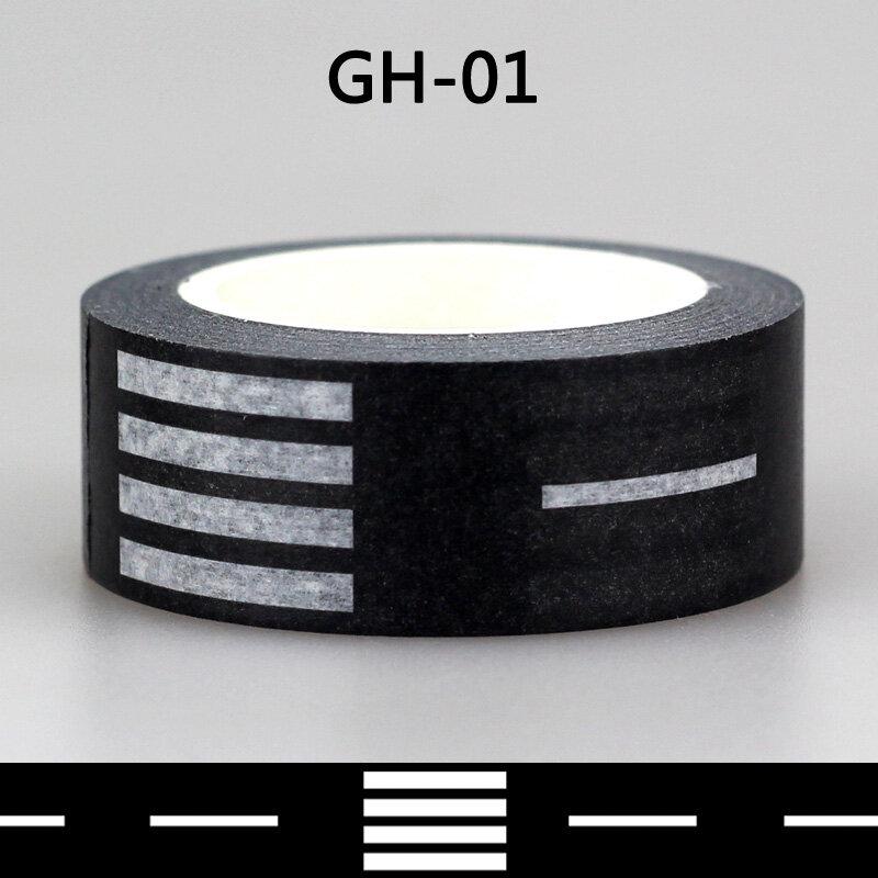 Washi Tape de papel japonés de Navidad, conjunto de cinta adhesiva decorativa para manualidades, álbum de recortes, color blanco y negro, 1x10m