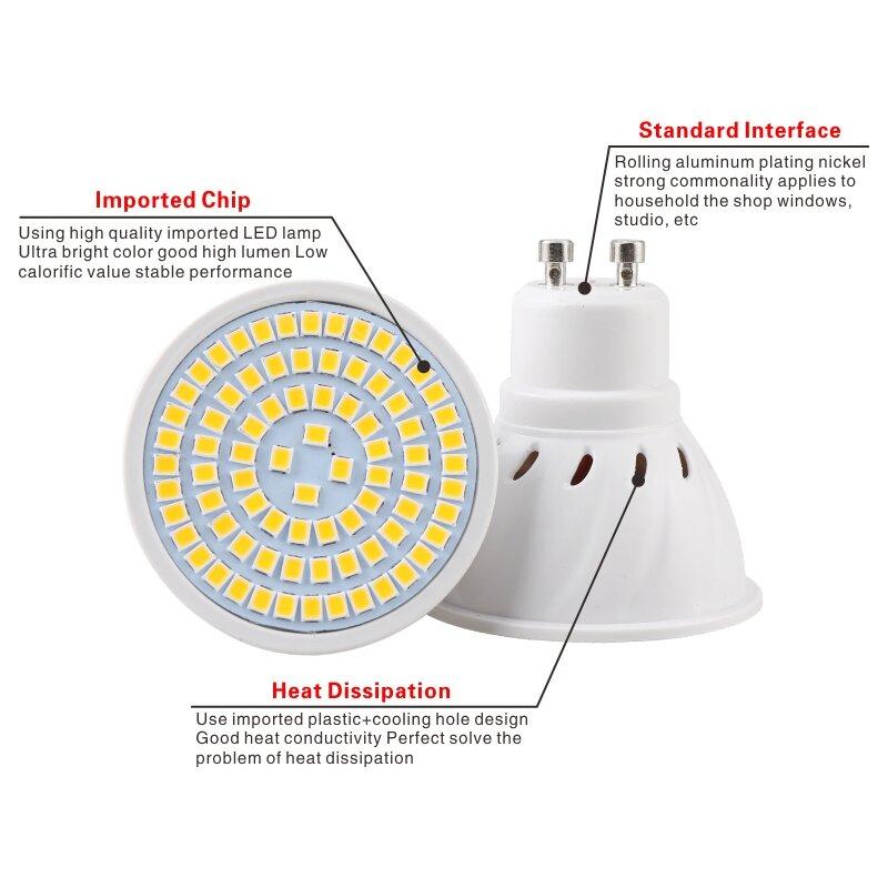 10 Uds Bombillas LED foco bombilla E27 E14 MR16 GU10 B22 220V Bombillas LED lámpara 48 60 80 LED 2835 SMD lámpara de la luz del punto 3w 4w 5w