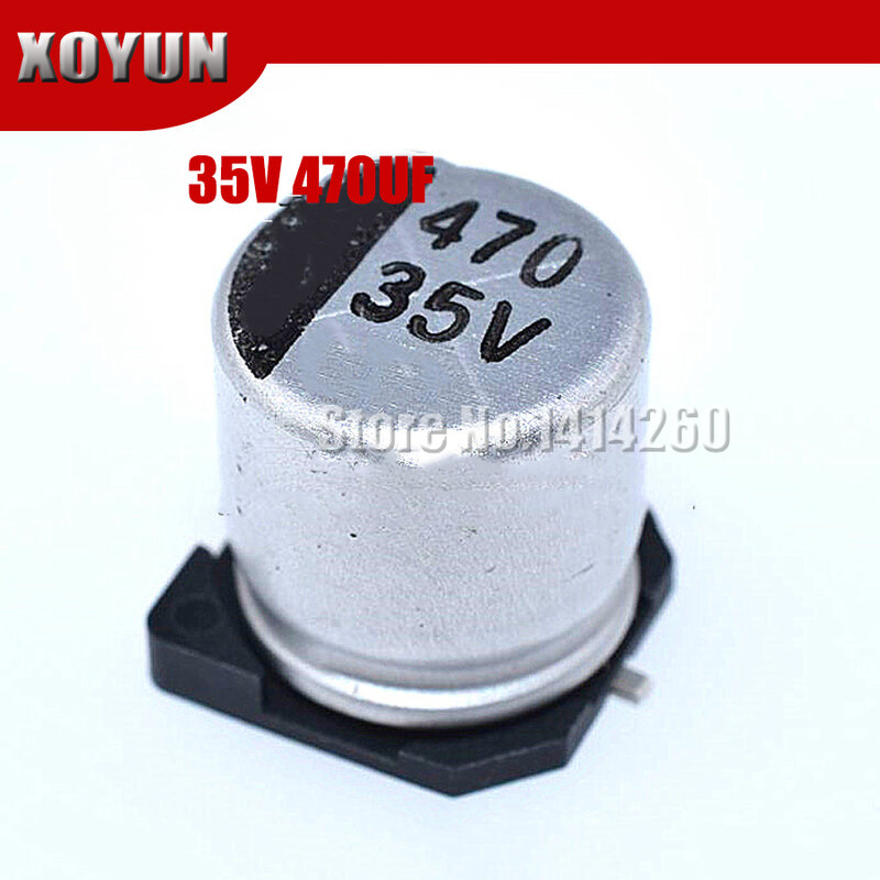 10pcs 전해 콘덴서 35v470uf 10 10 5mm Smd 알루미늄 전해 콘덴서 470 미크로포맷 35v 수동 부품