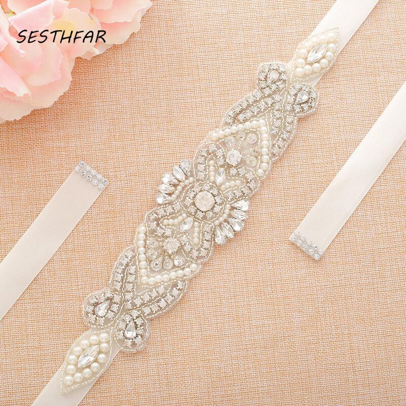 Cintura in strass SESTHFAR cinture da sposa a mano cintura da sposa in perle di cristallo per abito da sera formale fascia da sposa