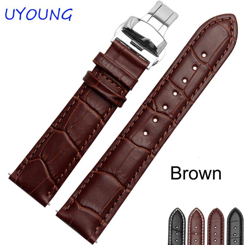 18/19/20/21/22/24 มม.Hot ขายนาฬิกาหนังแท้สีดำสีน้ำตาลอุปกรณ์เสริมสำหรับ Tissot สร้อยข้อมือ