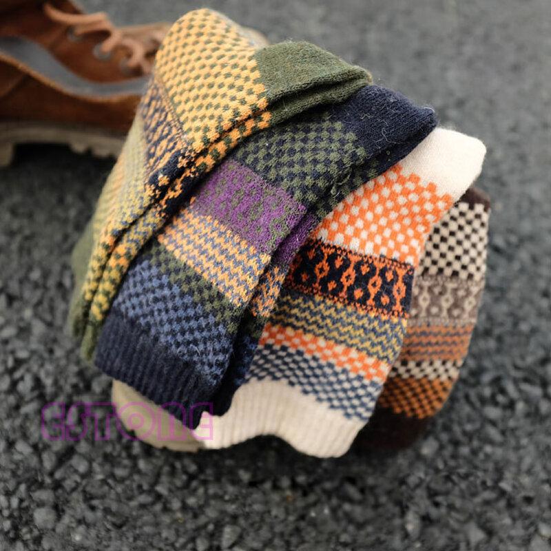 جوارب رجالية شتوية, جوارب رجالية شتوية سميكة وناعمة مكونة من 4 أزواج من صوف الأرانب الكاجوال