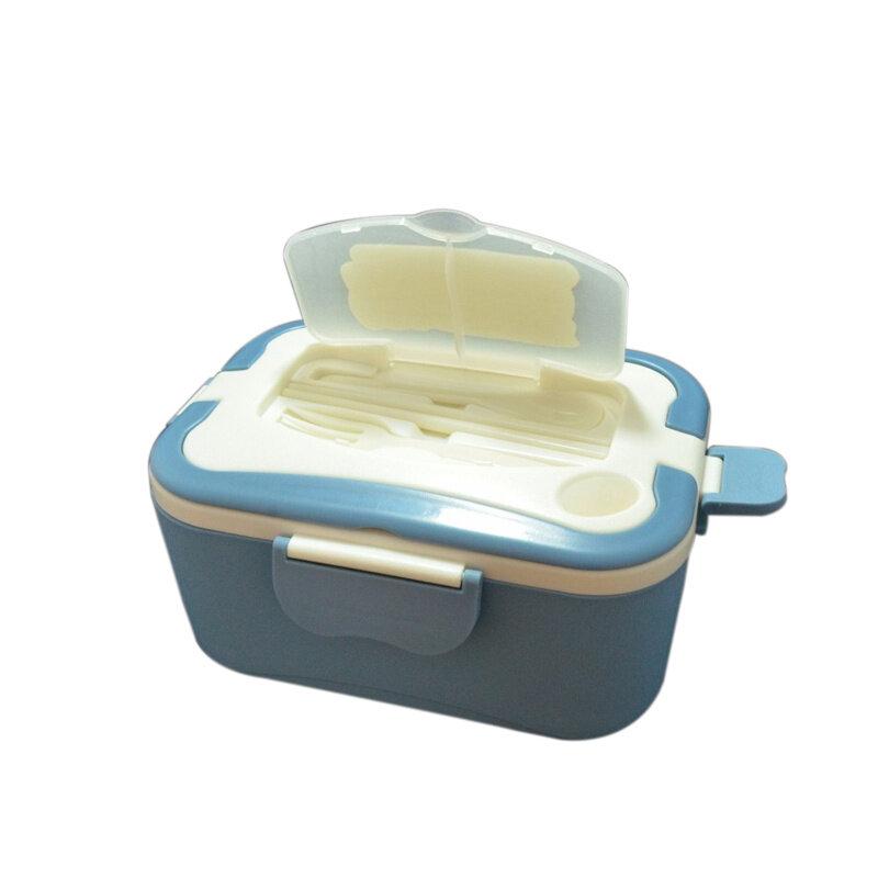 휴대용 도시락 전기 난방 도시락 상자 식품 학년 식품 용기 음식 따뜻하게 4 버클 식탁 세트