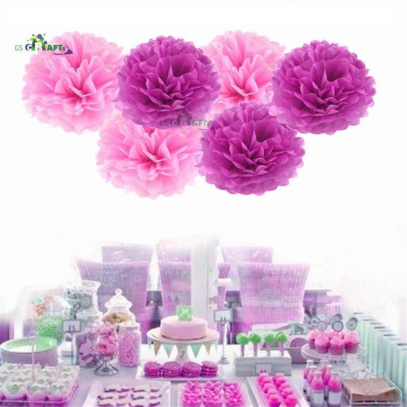 Pompones de papel tisú de tamaño variado, Bola de flor de papel para fiesta de cumpleaños, boda, Baby Shower, decoración de fiesta nupcial, 15 Uds.