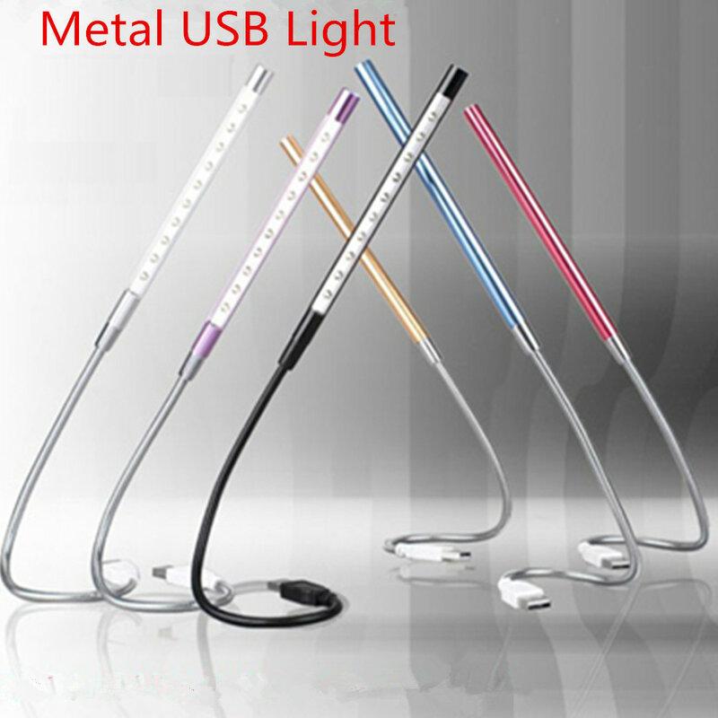 Super Bright Mini 10 LEDS USB Light ไฟ led โลหะอ่านหนังสือสำหรับแล็ปท็อปโน้ตบุ๊ค PC คอมพิวเตอร์ 6 สี