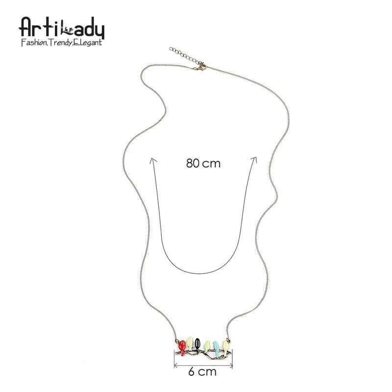 Artilady-قلادة على شكل طائر على فرع للنساء ، قلادة ، مجوهرات ، حداثة