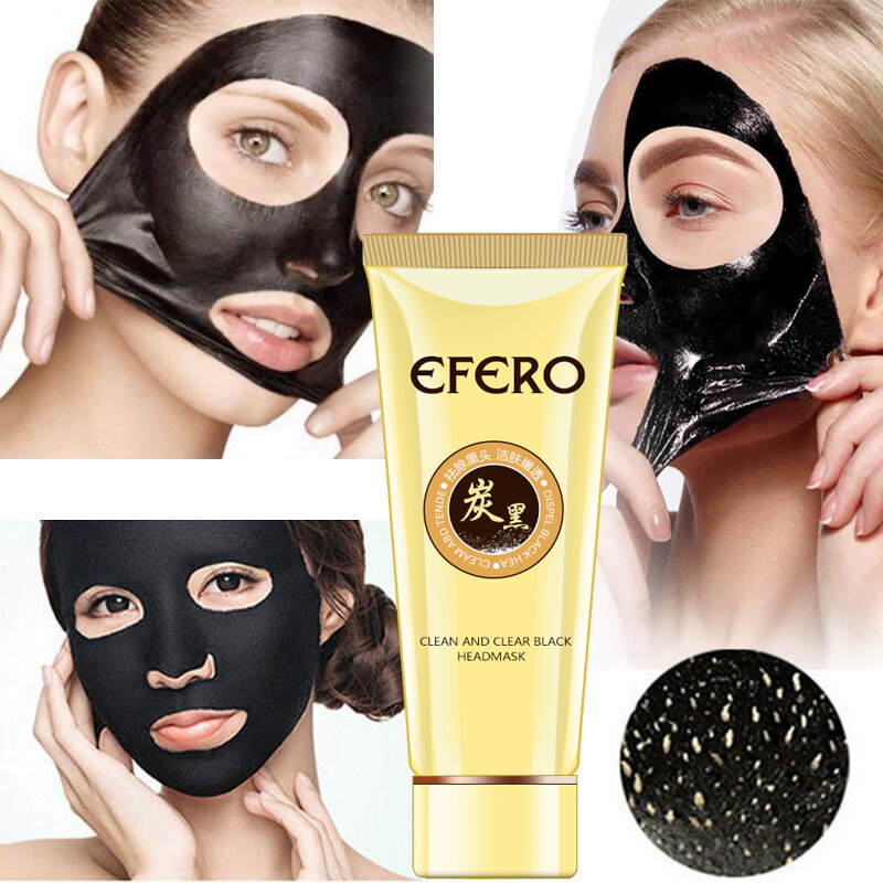 ดูด Face Mask Deep Cleansing Face Mask สีดำหัวการฉีกขาดต่อต้านสตรอเบอร์รี่จมูกสิว Remover Blackhead หน้ากากโคลน