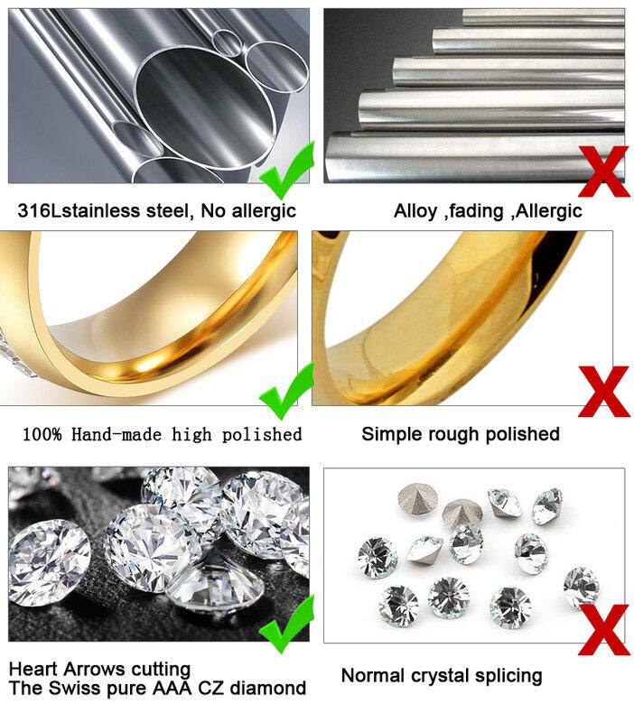 Vnox Trendy Wedding Ring 316l Stainless Steel Metal CZ Zircon Stone Finger Jewelry