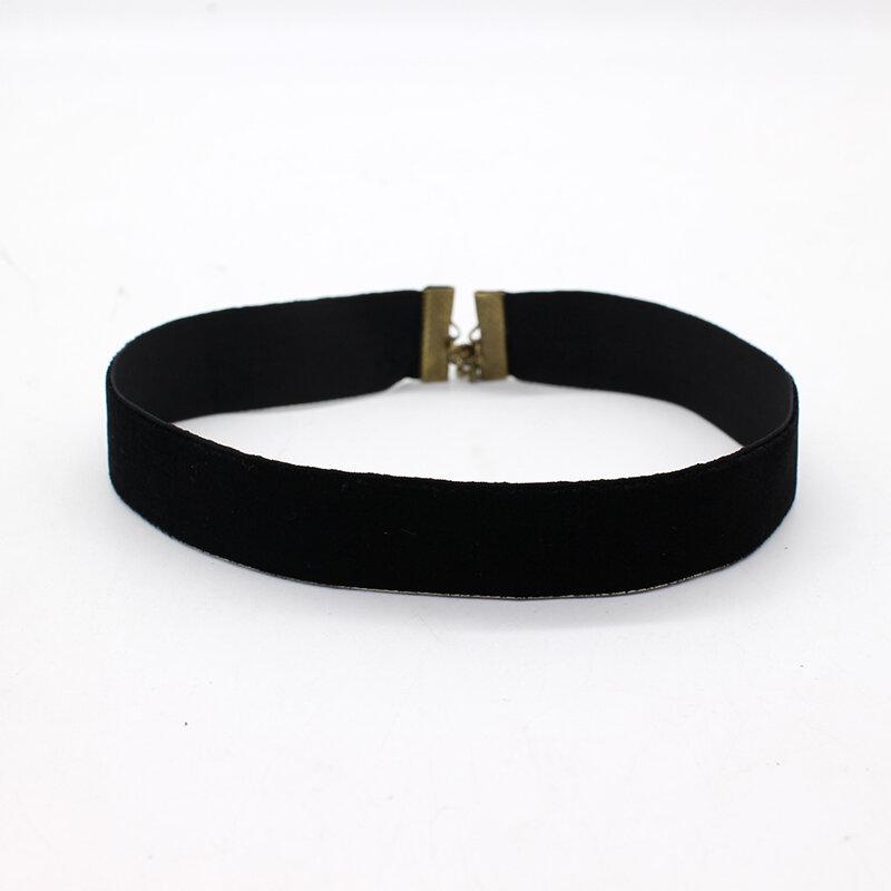 Mode Einfache Schwarz Samt Halsband Halskette 90er Plain Band Gothic Runde Burlesque Seil Kette Chocker Retro Schmuck Für Frauen