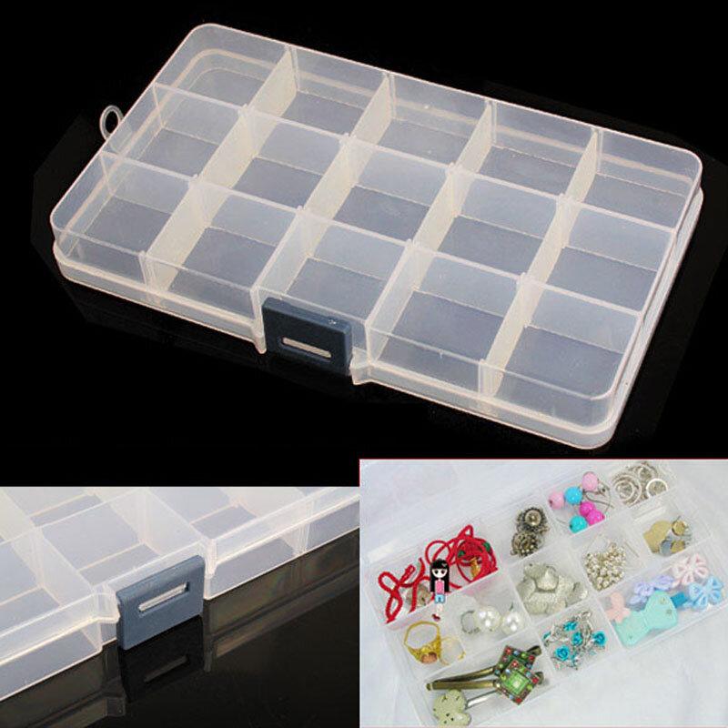 Griglie Staccabile In Plastica Storage Box 15 Scompartimento Strass Nail Art Tool Case Bead Rings Jewelry Display Dell'organizzatore