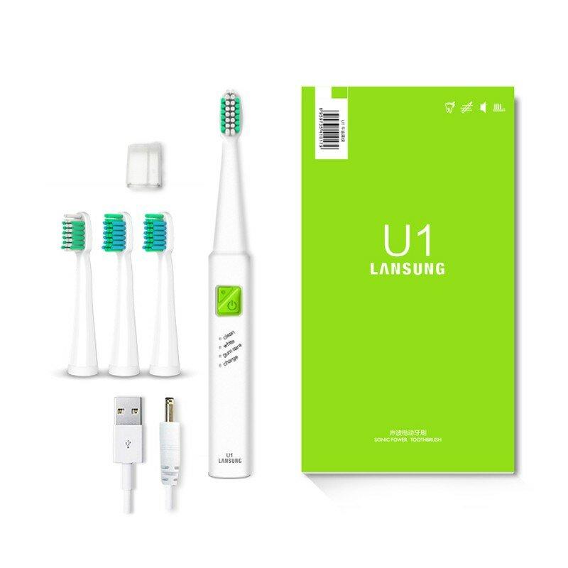 LANSUNG Ultra sonic Sonic cepillo de dientes eléctrico de carga USB recargable cepillos de dientes con 4 Uds los jefes de reemplazo del temporizador del cepillo