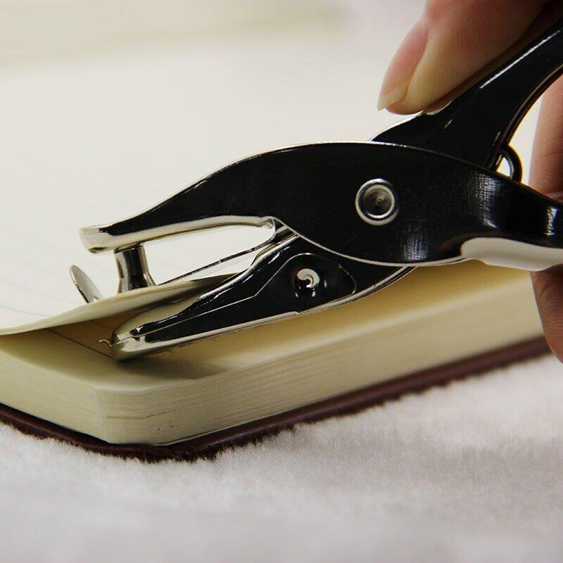 Perforadora de un solo orificio de Metal para oficina y escuela, perforadora de papel de mano, perforadora de un solo orificio para álbum de recortes, 8 páginas, todos los materiales de Metal, 1 ud.