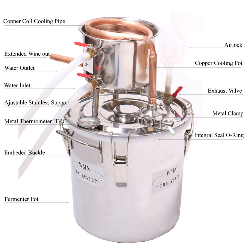 DIY Home 3 Gal / 12 ลิตรแอลกอฮอล์วิสกี้น้ำ Cooper Distiller Cooler Moonshine ยังคงหม้อไอน้ำสแตนเลส Keg Spirits BREW ชุด