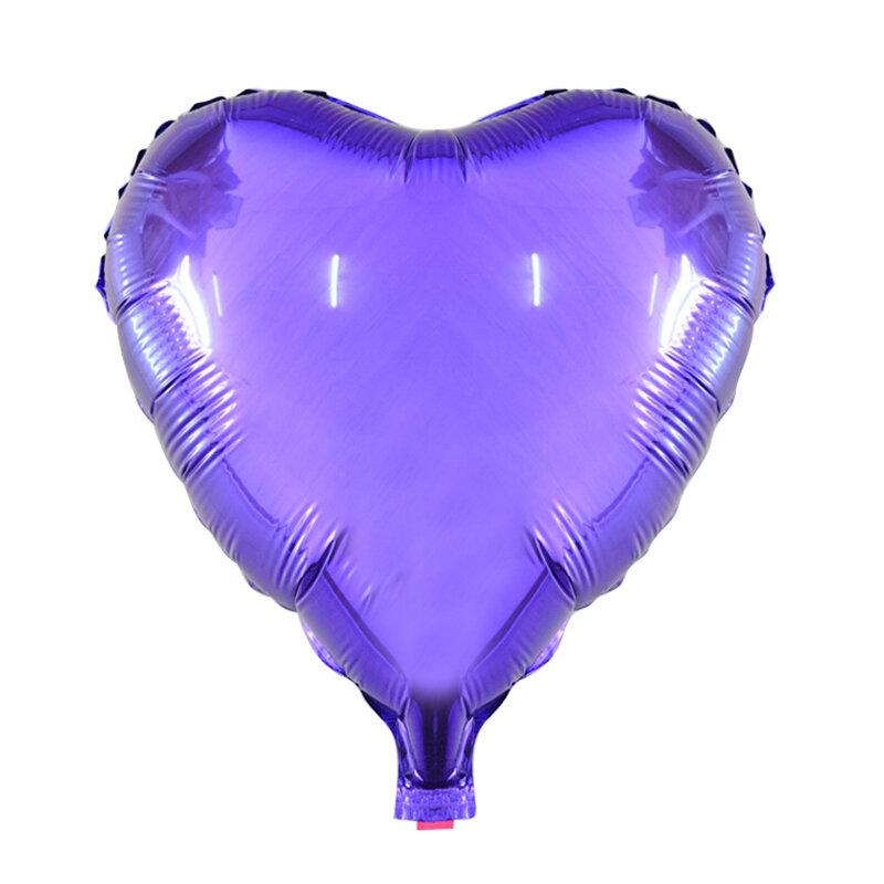 Globo de aluminio con forma de corazón para decoración, globo grande de 10 pulgadas para decoración de bodas, feliz cumpleaños, 5 unids/lote