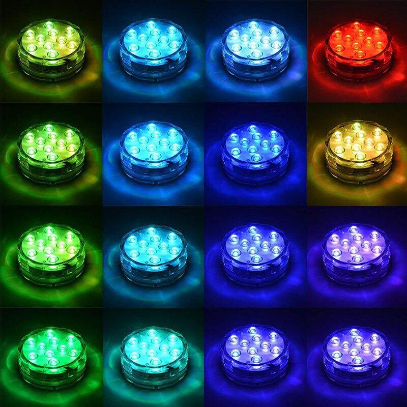 10LED RGB 잠수정 조명 수중 LED 야간 조명 수영장 조명 야외 꽃병 물고기 탱크 연못 디스코 웨딩 파티