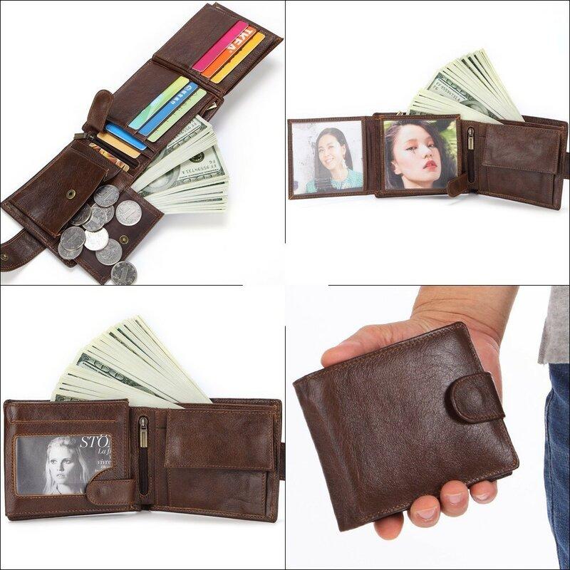 Misfits 정품 가죽 지갑 남성용 동전 주머니 빈티지 짧은 지갑 남성 carteira masculina 카드 홀더 지퍼 머니 백