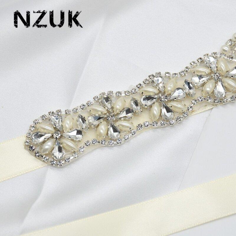 NZUK-حزام زفاف من الكريستال باللؤلؤ ، حجر الراين ، لوصيفات العروس ، kx07
