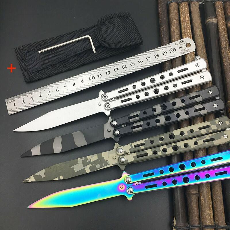 5Cr13Mov coltello in Acciaio Inox Farfalla Formazione Coltello a farfalla in coltello gaming strumento dull knife strumento no bordo
