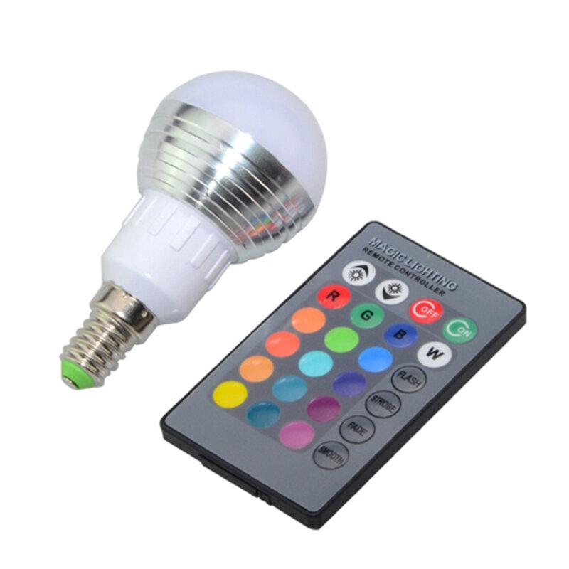 1 قطعة عكس الضوء 16 ألوان RGB عيد الميلاد ديكور جو LED ليلة ضوء E27 E14 5W 85V - 265V LED مصباح الضوء لمبة + IR عن بعد