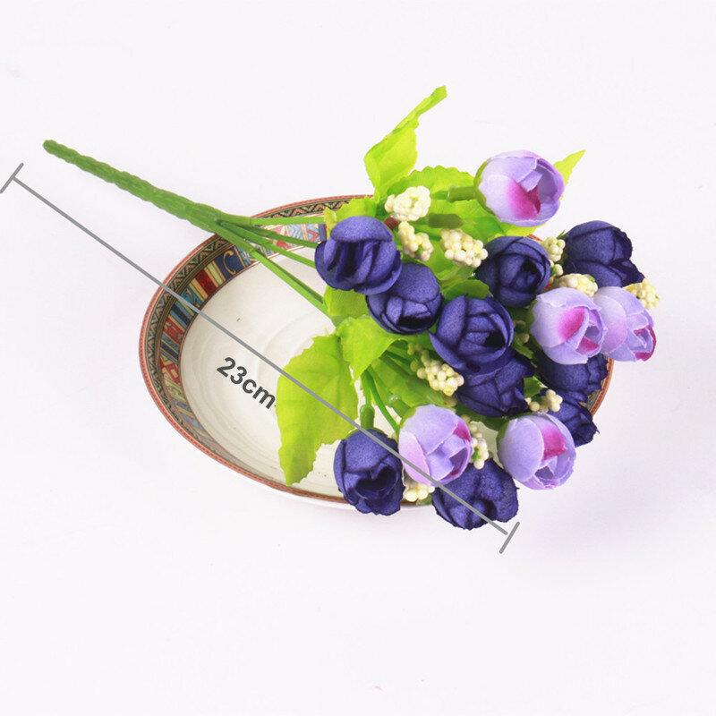 Mini roses artificielles en soie colorées, 15 têtes, fleurs, pour décorer la maison, pour un bouquet de petites roses, pour un mariage