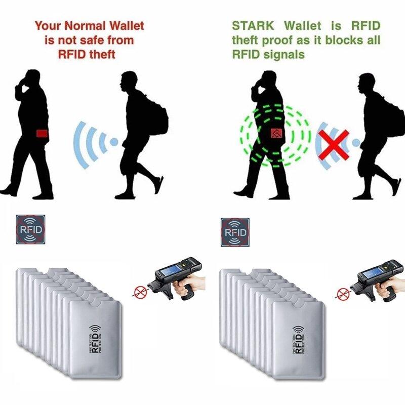 5 pcs 안티 rfid 카드 홀더 nfc 차단 리더 잠금 id 은행 카드 케이스 보호 금속 신용 카드 홀더 f052