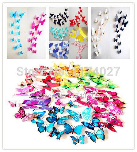 Hohe Qualität 12 stücke PVC 3d Schmetterling wand decor nette Schmetterlinge wand aufkleber kunst Aufkleber dekoration
