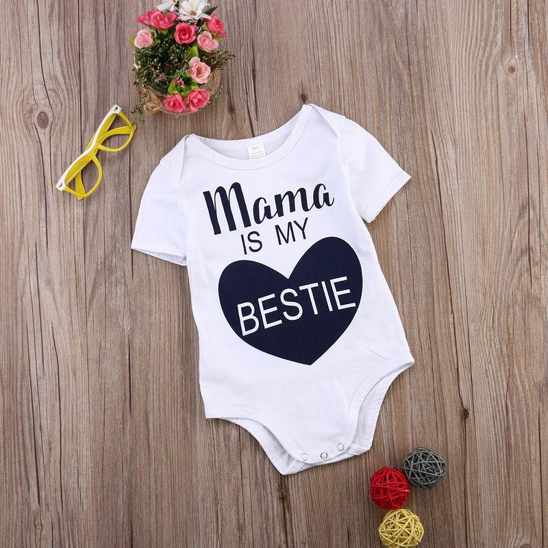 الوليد الاطفال طفل رضيع صبي فتاة مريلة من القطن الحب نمط ماما هو بلدي Bestie بذلة الزي ملابس الصيف