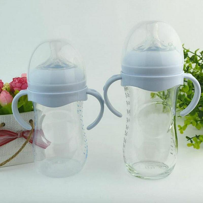 2PCS ขวด Grip Handle สำหรับธรรมชาติกว้างปาก PP แก้วให้อาหารเด็กขวดอุปกรณ์เสริม