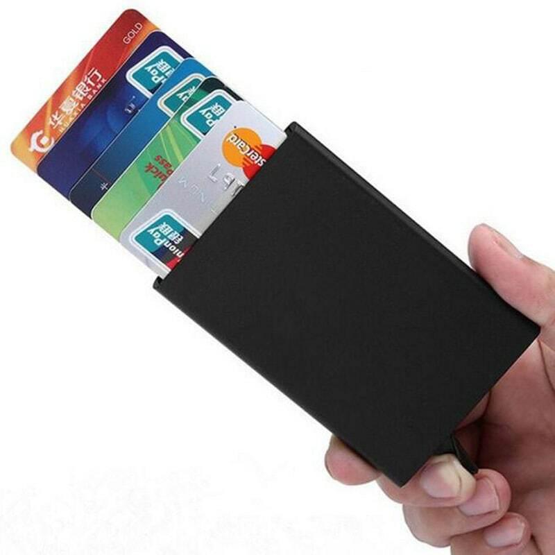 신용 카드 홀더 남성 슬림 안티 보호 여행 ID 카드 홀더 여성 Rfid 지갑 금속 케이스 포르테 카트