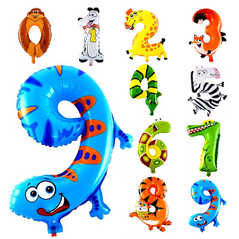 10Pcs Animale Numero Foil Palloncini Gonfiabili di Nozze Felice di Compleanno Aria Palloncini Palloncino Regali per Bambini Giocattolo Gonfiabile