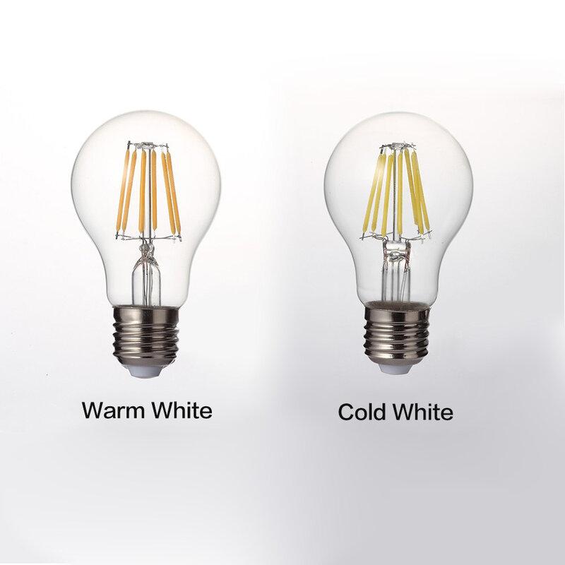 LUCKYLED ريترو LED خيوط ضوء مصباح E27 2 واط 4 واط 6 واط 8 واط A60 خمر اديسون Led لمبة 110 فولت/220 فولت واضح الزجاج قذيفة