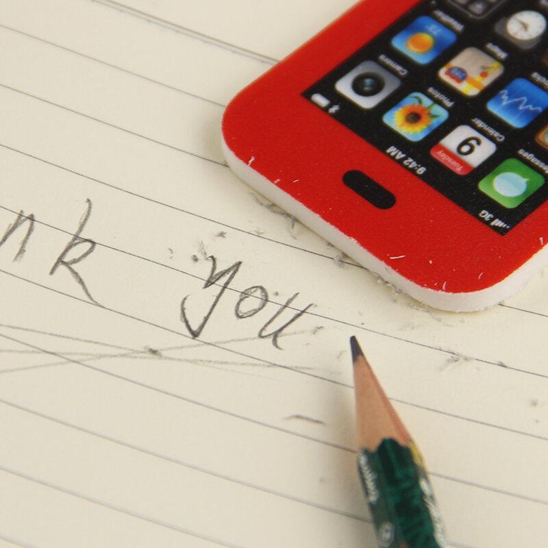 Borrador de lápiz Kawaii para teléfono móvil, productos creativos para niños, suministros escolares de oficina, precio más bajo