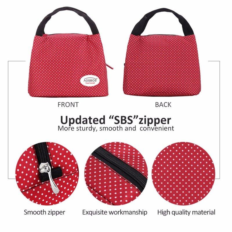 Aosbos Mode Tragbare Isolierte Leinwand Mittagessen Tasche Thermische Lebensmittel Picknick Mittagessen Taschen für Frauen Kinder Männer Kühler Lunch Box Tasche tote