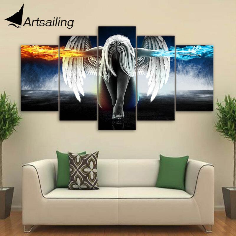 Artsail-رسم على قماش مع أجنحة الملاك ، 5 قطع ، فن ، أنيمي ، فتاة ، لوحة ، وحدة ، صور ، up-874