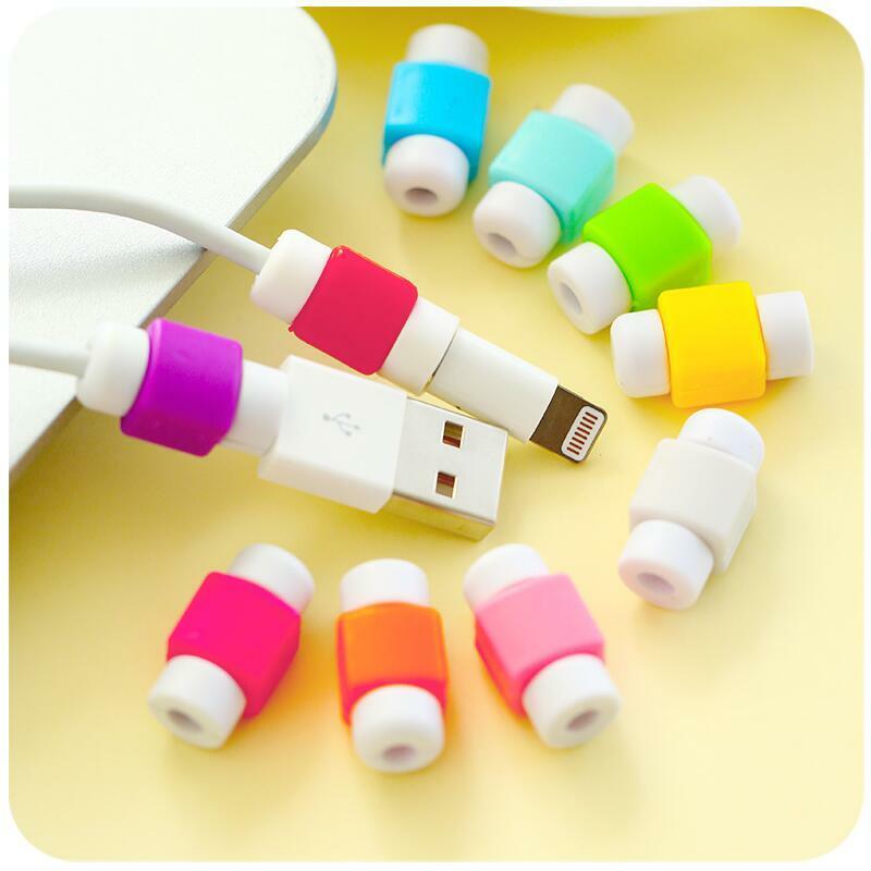 Einfache Nette Kabel Protector Daten Linie Schnur Protector Schutzhülle Kabel Wickler Abdeckung Für iPhone USB Farbe Ladekabel