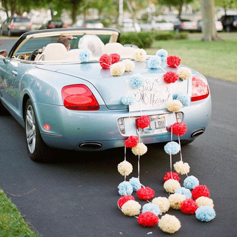 FENGRISE 5pc 20 25 30 centimetri Decorazione di Cerimonia Nuziale Del Fiore Pompon di Carta Velina Pom Poms FAI DA TE Fiori Artificiali Di Buon Natale decorazione